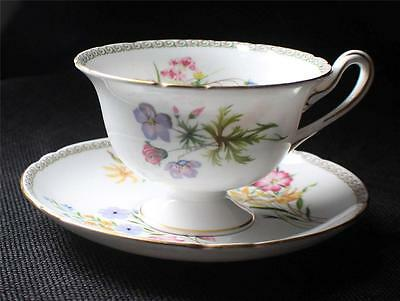 Vintage SHELLEY Bone China England WILD FLOWER Pattern#13686 Footed Cup & Saucer