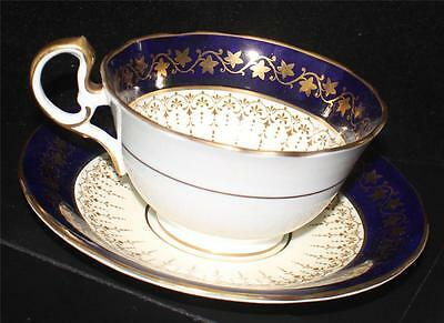 Vintage AYNSLEY Bone China England Gold IVE'S LEAVES on COBALT Band Cup & Saucer