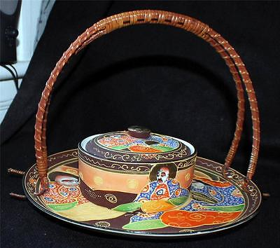 Vintage SATSUMA Moriage Gold Gilded Hand Painted Wicker Bamboo Handle Plate&Bowl