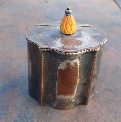 Vtg silver plate tea caddy by Israel Freeman and Sons w/carved finial