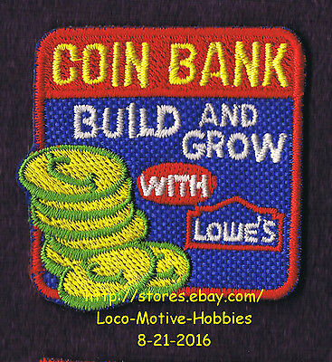 LMH PATCH Badge  COIN BANK Change Coins Penny  Build Grow LOWES Project Series