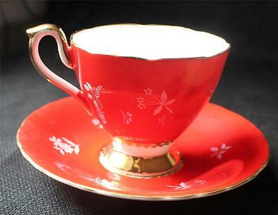 Vintage SUTHERLAND HM Bone China White Flowers Pattern Red Footed Cup & Saucer