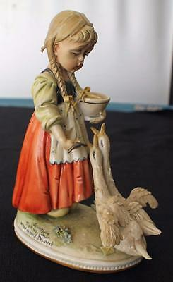 "Vintage Signed TIZIANO GALLI Made Italy Porcelain GIRL with GEESE 7"" Sculpture"