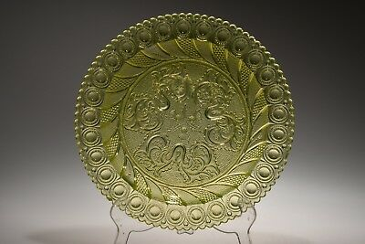 MMA Imperial Glass Boston & Sandwich PEACOCK EYE & THISTLE Vaseline Canary PLATE