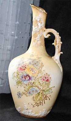 "Antique Turn Teplitz RStK Bohemia Austria Hand Colored FLOWERS 10""h Ewer Pitcher"