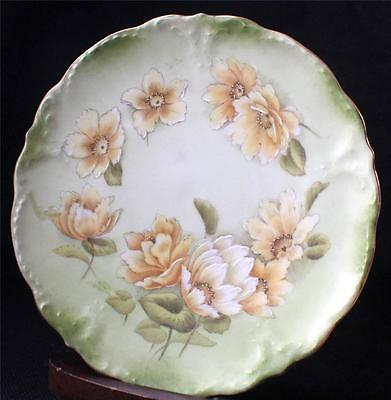 "Vintage BAVARIAN China Germany Hand Painted Green YELLOW FLOWERS 7 1/2"" Plate #2"