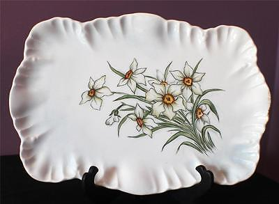 """Antique1891-1914 LIMOGES AL Ancor Hand Painted DAFFODILLY 12"""" Rectangular Tray"""