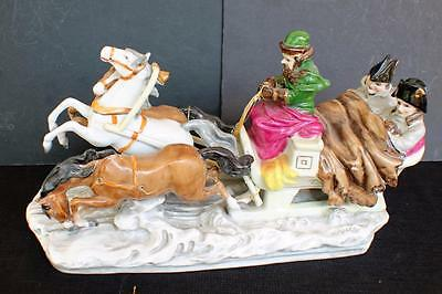 Antique Meissen Large porcelain figurine Three horses,sleigh,1800th French coup
