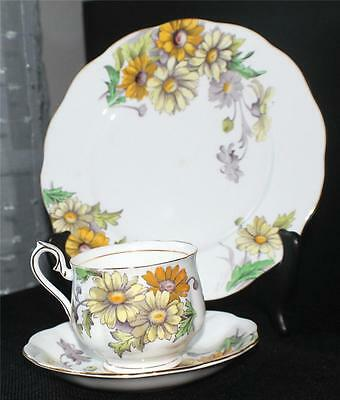 ROYAL ALBERT China England Flower of Month Series DAISY Trio Cup Saucer&Plate #4