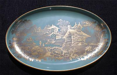 "Vintage MINTON Bone China England Green Gold ORIENTAL SCENE 8 1/2"" Oval Plate"