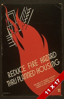 Vintage Fire Prevention Safety Firefighter Poster Retro Federal Wpa Art Print
