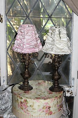 Pair Antique Table Top Slip Shade Chandelier Lamps Shabby Brass Lighting