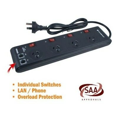 CABAC PB4SW Black 4 Way Powerboard with Individual Switches Surge Protector