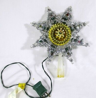 """Vintage 1981 Silver Tinsel Reflective Gold Plate 7"""" Star Christmas Tree Topper"""