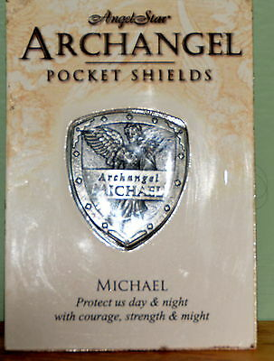 Michael Pocket Shield Token Pewter Inspirational NIP Protect Us Day & Night