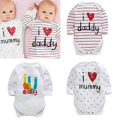 Love Dad Mom Newborn Boy Girl Bodysuit Romper Jumpsuit Cotton Clothes Outfits