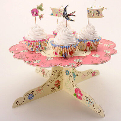 1 Pc Cake Stand - Cardboard Vintage Tea Party Cupcake Display Floral Summer