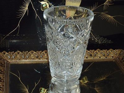 Beautiful Vintage Hand Crafted Clear Crystal Vase Bohemia C 1960'S