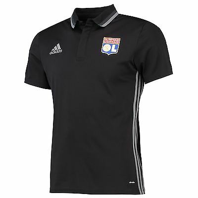 adidas Mens Gents Football Soccer Olympique Lyon Training Polo Shirt Top - Black