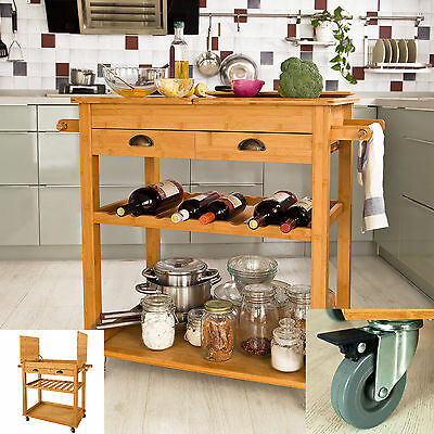 SoBuy XXL 100% Bamboo Kitchen Trolley Cart with Unfolding Countertop, FKW08-N,UK