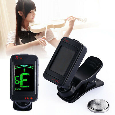 Rowin LT-32 Pro Black Clip-on Guitar Digital Tuner  for electric acoustic bass