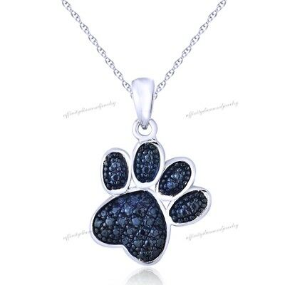 Sterling Silver Blue Diamond Accent Paw Print Necklace