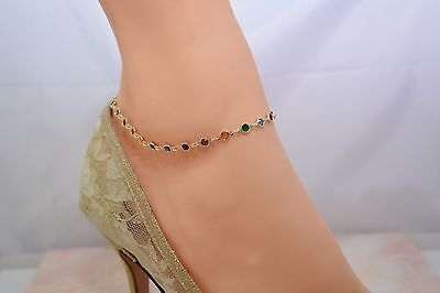 SO BEAUTIFUL  MULTI COLOR C.Z.STONES 14Kt Gold Pt ANKLET ANKLE BRACELET  9 To 12