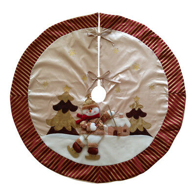 "Luxury Gold & Cream Snowman Christmas Tree Skirt 42"" – Apron Decoration Fabric"