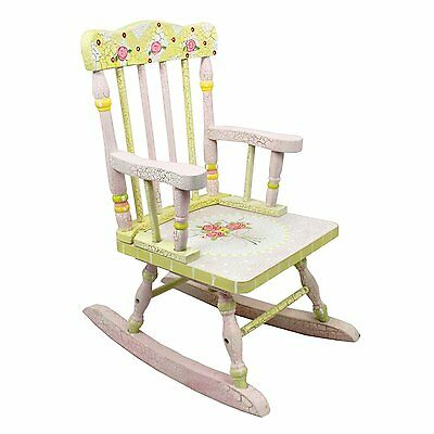 Fantasy Fields by Teamson Crackled Rose Childrens Rocking Chair Wooden Rocker S