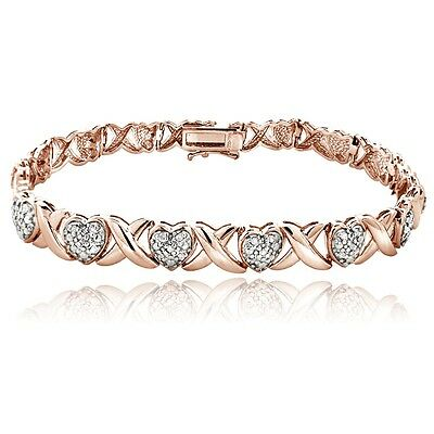18K Rose Gold Plated Brass 1.00Ct TDW Diamond X & Heart Bracelet
