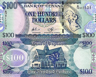 GUYANA 100 Dollars Banknote World Paper Money UNC Currency BILL Pick p-36c Bill