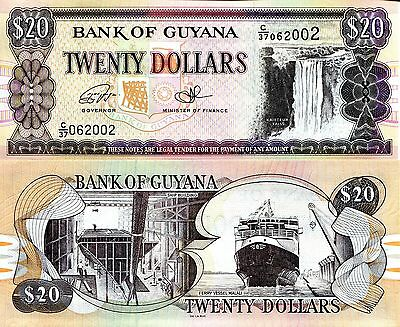GUYANA 20 Dollars Banknote World Paper Money UNC Currency Pick p-New 2016 Bill