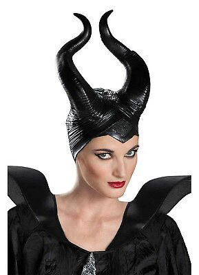 Maleficent Horns Deluxe Movie Costume Accessory Halloween Disney Black Horns