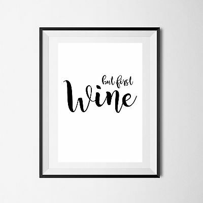 Inspirational Quote Poster Art Print A4 Typography Decor gift wall decor wineoc