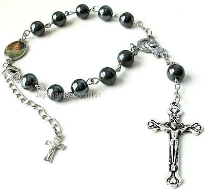 Black Hematite Pocket Travel Rosary Bracelet Round Beads Car Auto