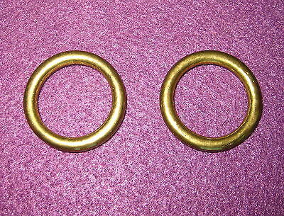 Old Antique Vintage 2 Pc Solid Brass Seamless Ring Outside Dia.27/32 In. Part