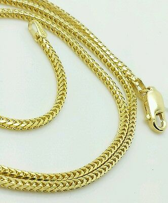 "14k Solid Yellow Gold Square Box Franco Chain Necklace 16"" 18"" 20"" 24"" 1.8mm"