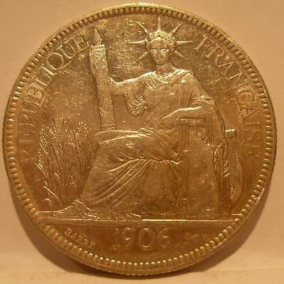 French Indo - China 1906A Silver Piastre XF - AU