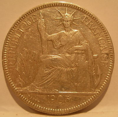 French Indo - China 1905A Silver Piastre XF