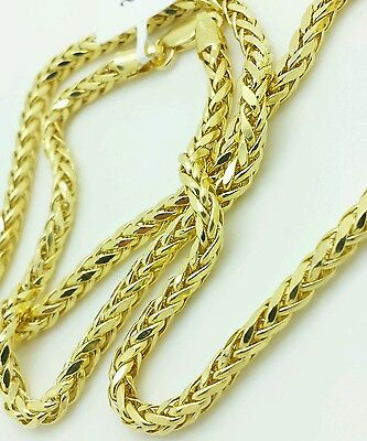 """14k Yellow Gold Round Diamond Cut Franco Chain Necklace 18"""" 20"""" 24"""" 3.2mm"""