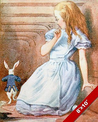 Alice In Wonderland & The White Rabbit Lewis Carrol Canvas Painting Art Print