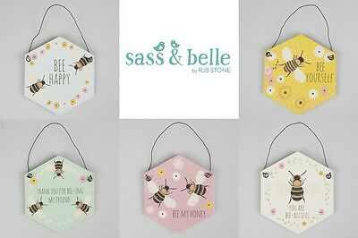 New Bee Flower Hexagon Wall Hanging Sign Plaque Decoration Sass & Belle