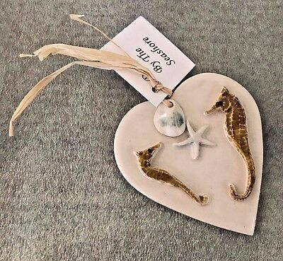 Blue Sky Pottery, Hand Crafted Porcelain Seahorse Green Shells Heart Ornament