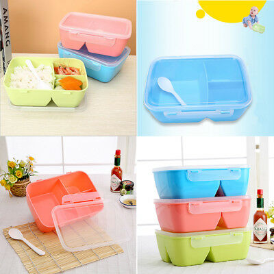 Lunch Box 3 Compartments With Spoon Bento Box Food Container Student New