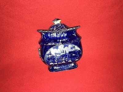 Historical Staffordshire Landing Of Lafayette Sugar Bowl By Clew's Ca. 1825 Blue