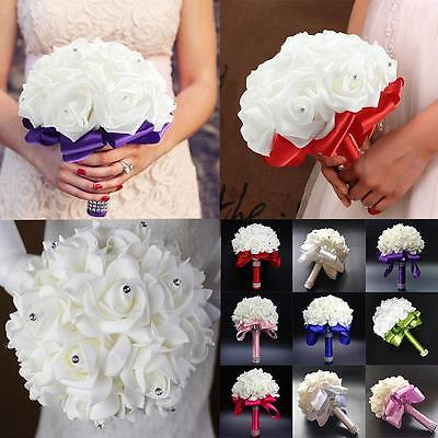 Ridal Colourfast Foam Rose Crystal Diamond Artificial Flower Wedding Bride Party