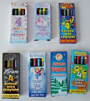 1 to 250 Packs 4 Mini Colouring Wax Crayons Lucky Dip Party Bag Toys Fillers