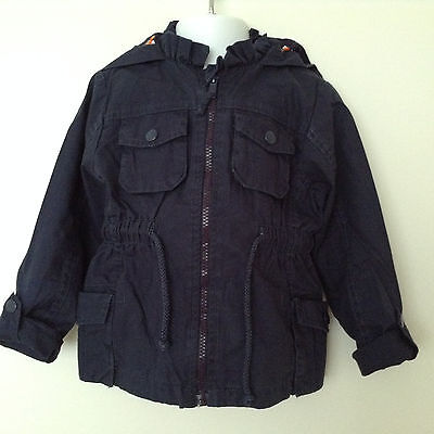 BNWT Girls Navy Jacket with Hood Age 2-3, 3-4, 7-8 Years *FREE P&P