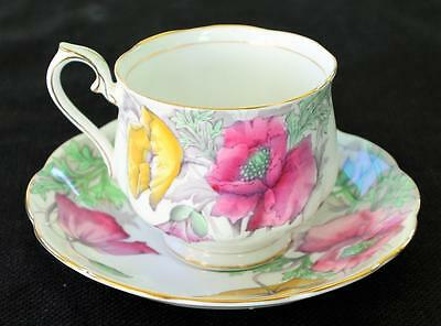 Vintag ROYAL ALBERT Bone China England POPPY Flower of the Month #8 Cup & Saucer