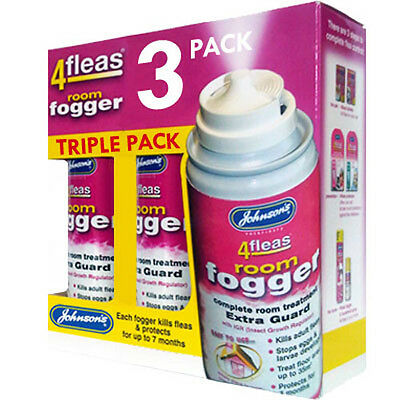 3 x Johnsons 4Fleas Flea Fogger - Home Flea Bomb - Mulipack Value 3 Foggers